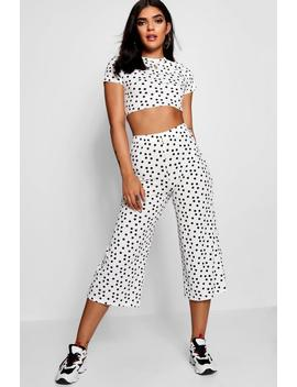 Nancy Spot Print Ribbed Top Culotte Co Ord by Boohoo