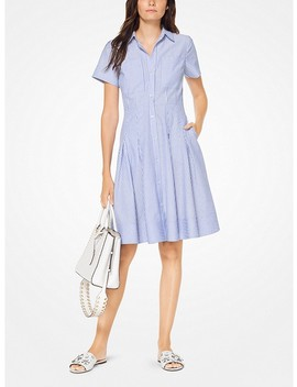 Striped Cotton Pleated Shirtdress by Michael Michael Kors