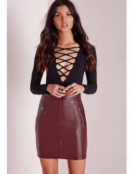 Zip Detail Faux Leather Mini Skirt Burgundy by Missguided