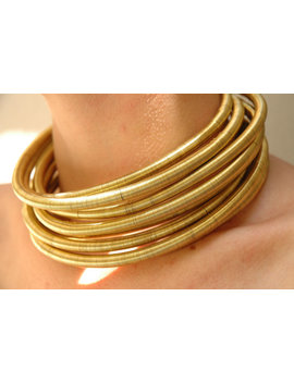 African Choker, Coil, Tribal Necklace,Wire Wrapped,Cuff Necklace,Handmade Jewelry Gold Mettalic Neckrings, Collar, 1 8 Neckrings Set by Etsy