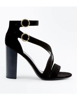 Black Suedette Circle Buckle Block Heels by New Look