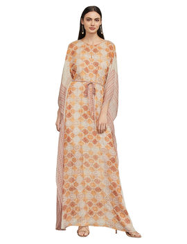 Gael Terracotta Tapestry Silk Dress by Bcbgmaxazria
