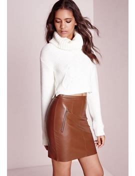 Zip Detail Faux Leather Mini Skirt Tan by Missguided