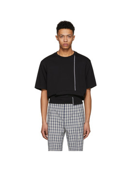Black Short Sleeve Re Constructed Sweatshirt by 3.1 Phillip Lim