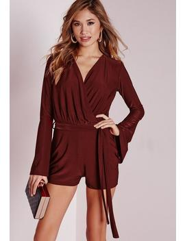 Slinky Wrap Belted Playsuit Berry by Missguided