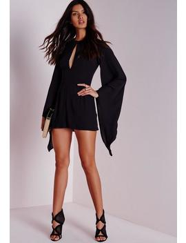 Cape Sleeve Playsuit Black by Missguided