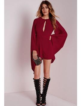 Cape Sleeve Playsuit Burgundy by Missguided