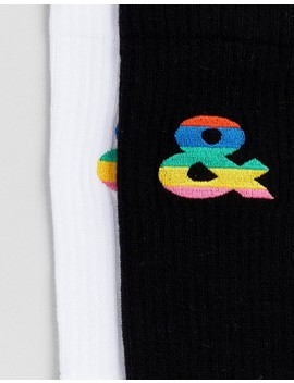 Asos Design X Glaad& 2 Pack Socks With Embroidery by Asos Design X Glaad&