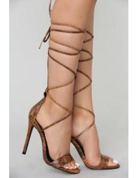 Tie Tease Heel   Brown Snake by Fashion Nova