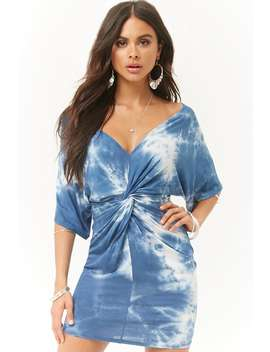 Tie Dye Twist Front Dress by Forever 21