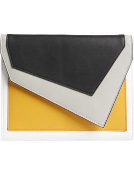 Colorblock Faux Leather Envelope Clutch by Leith