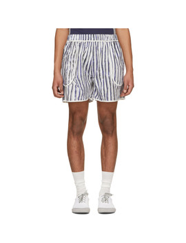 White & Blue Slim Stripe Pocket Shorts by Daniel W. Fletcher