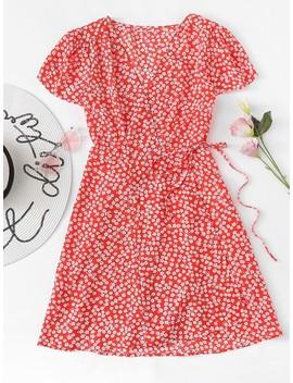 Calico Print Knot Side Dress by Romwe