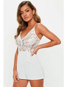 White Strappy Lace V Front Playsuit by Missguided
