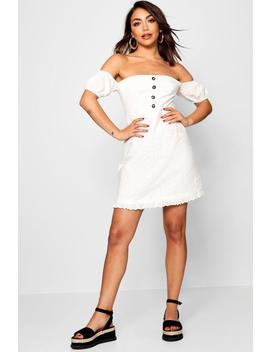 Broderie Anglais Button Front Mini Dress by Boohoo