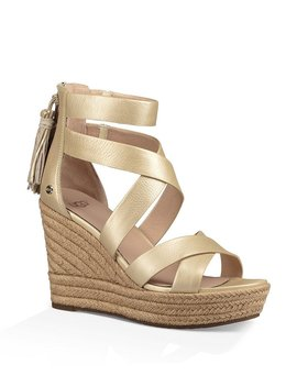 Ugg® Raquel Metallic Leather Back Zip Tassel Espadrille Wedge Sandals by Generic