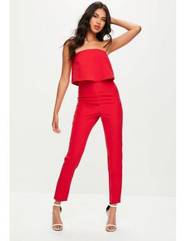 Petite Red Bandeau Double Layer Jumpsuit by Missguided