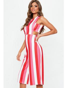 Pink Tab Side Stripe Jumpsuit by Missguided