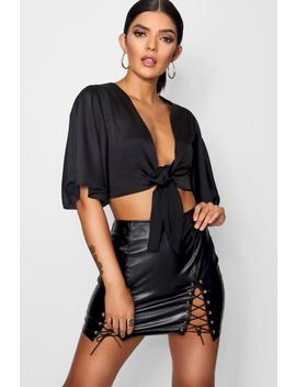Satin Sleeve Tie Front by Boohoo