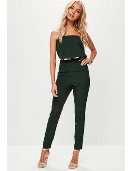 Green Bandeau Double Layer Jumpsuit by Missguided