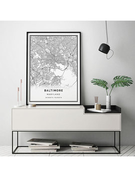 Baltimore Map Print | Scandinavian Wall Art Poster | City Maps Artwork | Maryland Gifts | Poster Decoration | M30 by Etsy