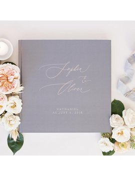 Gray And Rose Gold Wedding Guest Book, Personalized Rose Gold Album, Wedding Advice Book, Guest Book With Rose Gold Foil, 80 by Etsy