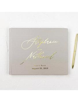Wedding Guest Book Modern Guestbook, Guestbook Wedding Personalize Guest Book For Wedding, Wedding Guest Book Gold Foil Wedding Guest Book by Etsy
