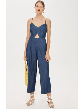 Light Denim Cut Out Jumpsuit by Topshop