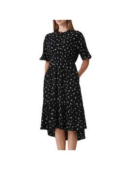 Whistles Eva Print Midi Dress, Black/White by Whistles