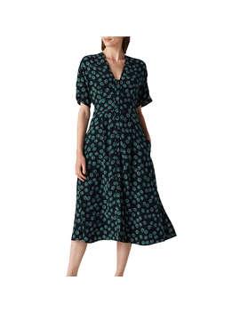 Whistles Lenno Print Naya Button Midi Dress, Green/Multi by Whistles