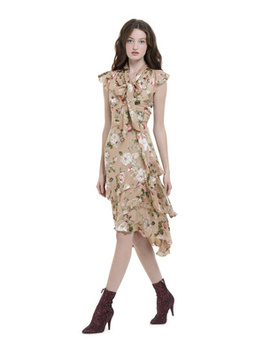 Lavenia Asymmetrical Tiered Midi Dress by Alice And Olivia