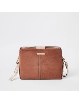 Beige Open Top Triple Compartment Bag by River Island