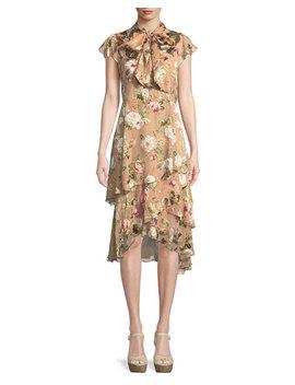 Lavenia Tiered Floral Midi Dress by Alice + Olivia