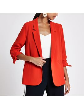 Bright Red Ruched Sleeve Blazer by River Island