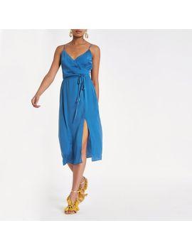 Blue Cami Slip Tie Front Midi Dress by River Island