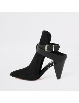 Black Buckle Pointed Shoe Boots by River Island