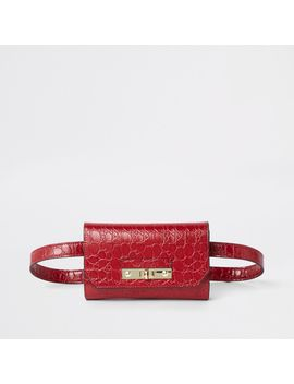 Red Ri Branded Croc Mini Belted Bum Bag by River Island