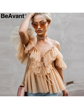 Be Avant Backless V Neck Sexy Blouse Summer 2018 Strap Ruffle Mesh Blouse Shirt Women Off Shoulder Peplum Tops Blusas Shirt Femme by Simplee