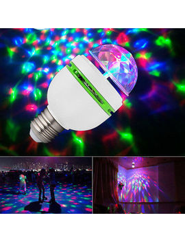 3 W E27 Rgb Crystal Ball Auto Rotating Led Stage Light Bulb Disco Party Bulb Lamp by Unbranded