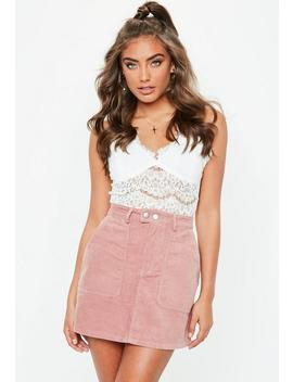 Pink Button Through Cord Mini Skirt by Missguided