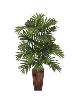 Areca Palm With Bamboo Vase Silk Plant by Nearly Natural