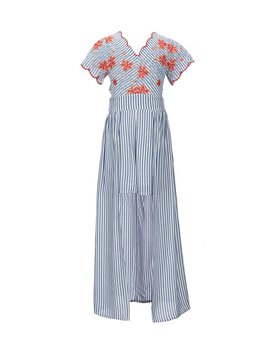 Big Girls 7 16 Floral Embroidered Stripe Maxi Romper by Generic