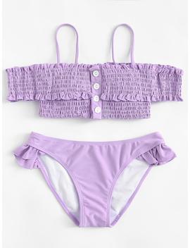 Shirred Ruffle Bardot Bikini Set by Romwe