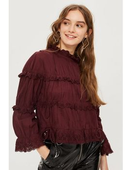Broderie Ruffle High Neck Top by Topshop