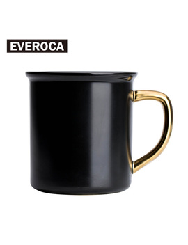 Stoneware Black Gloden Mug Ceramic Coffee Mug Porcelain Milk Office Mug Sugar Lemonade by Everoca