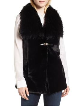 Faux Fur Vest With Buckle by Via Spiga