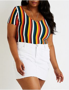 Plus Size Striped Bodysuit by Charlotte Russe