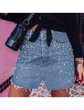 Be Avant Elegant Pearl Skinny Denim Skirts Womens Bottom Split Diamond Pencil Skirts 2018 Holiday Summer Mini Jeans Skirts Female by Simplee
