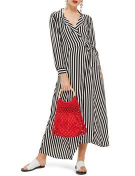 Stripe Wrap Midi Shirtdress by Topshop