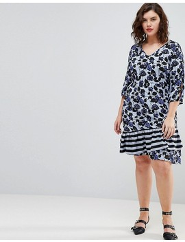 Junarose Floral Print Stripe Dress by Junarose